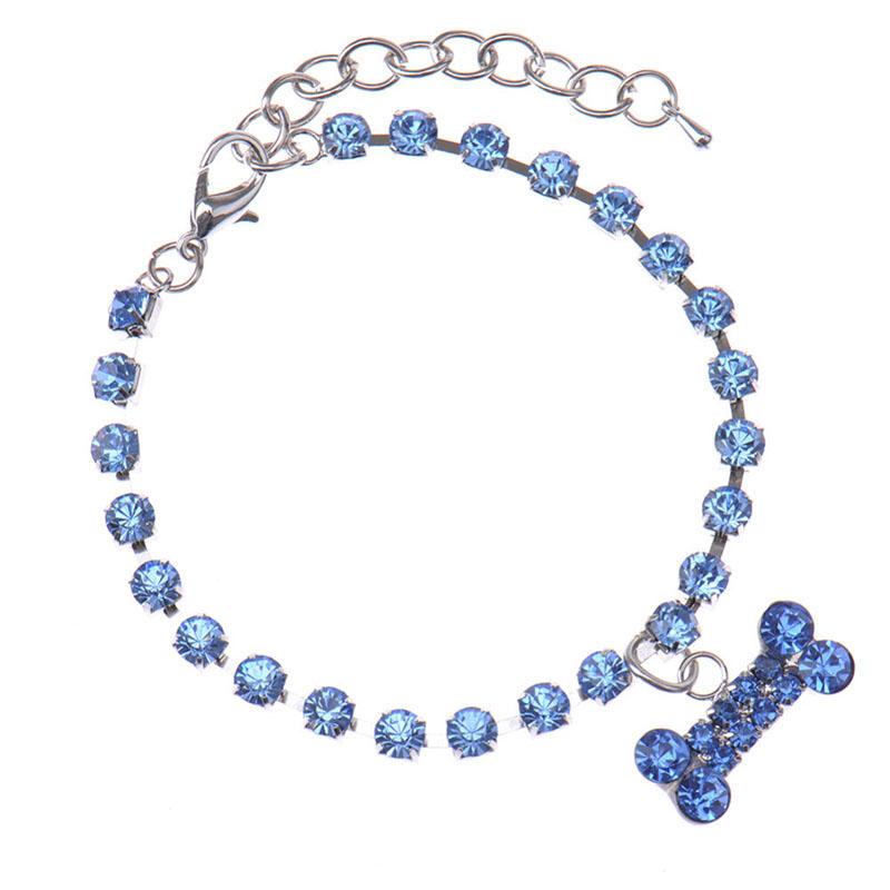 Puppy Dog Collars Necklace Crystal Rhinestone Dog Charm Pendant Pet Jewelry(China (Mainland))