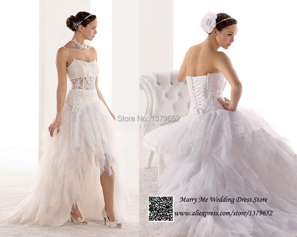 White strapless high low wedding dress lace bridal gown for Free wedding dresses low income