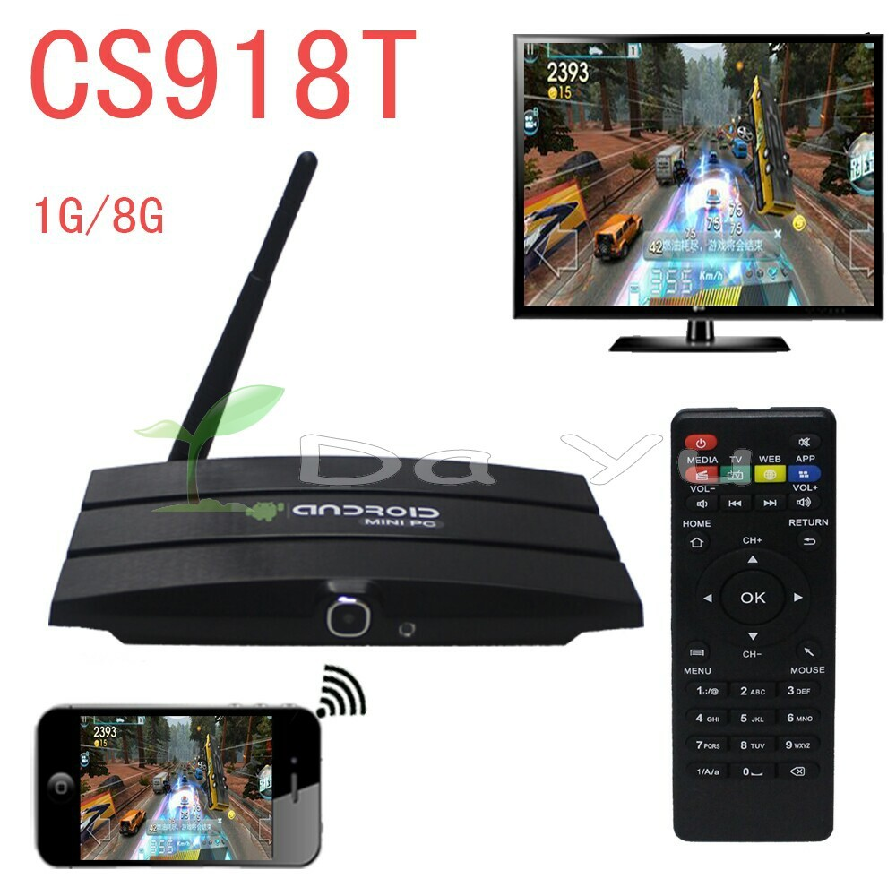 5pc CS918T Android 4.4 TV Box amlogic s805 1.6 GHz Quad core 1GB RAM 8GB ROM XBMC Bluetooth CS918 T Web camera RJ45 AV OUT(China (Mainland))