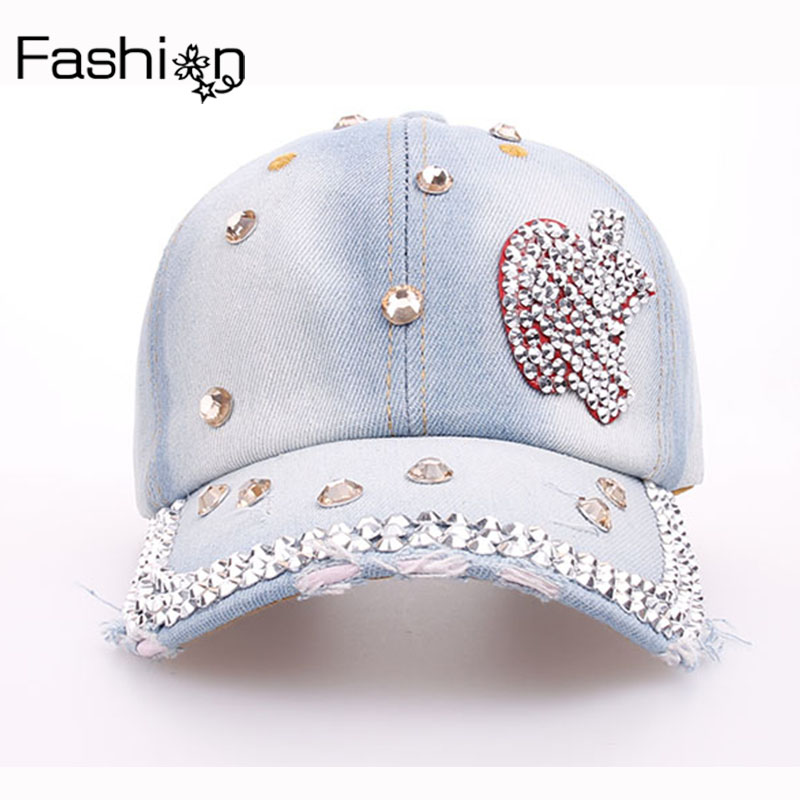 Cheap Diamond Denim Baseball Cap Apple Pattern Hats For Women High Quality Glass Diamond Hip Hop Cap Adjustable Girls Summer Hat(China (Mainland))