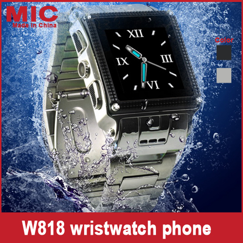 "2013 Quad Band Stainless Steel Waterproof 1.3M Camera Bluetooth Java 1.5"" Touch Screen Watch phone cellphone GPRS W818 P122(China (Mainland))"