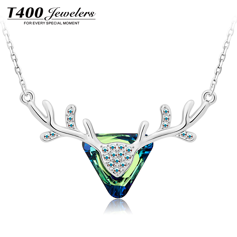 T400 Jewelers Women Fashion Made with Swarovski Elements Crystal Luxury Forest Fawn Pendant Necklace Erinite #1898 free shipping(China (Mainland))