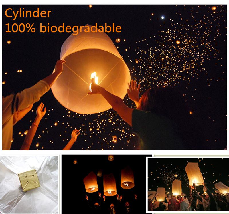 Cylinder shape 6pcs/lot ellipse sky lantern biodegradable flying Chinese lantern wedding/ party decorations free shipping(China (Mainland))