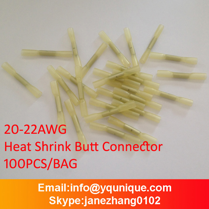 BHT0.5 free ship for 22-20 AWG( 0.2-0.75 mm2 ), Splice butt Heat Shrink Tube Joint and Connectors,Cold pressed terminal 100pcs(China (Mainland))