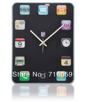 FREE SHIPPING ipad shaped wall clock DIY wall clock modern design wall clock mechanism sticker super mute