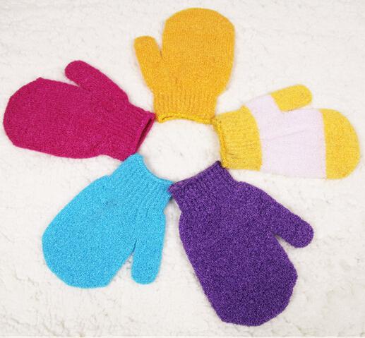 Free Shipping Moisturizing Spa Skin Care Cloth Bath Glove Exfoliating Gloves Cloth Scrubber Face Body 20Pcs/Lot Mix Color(China (Mainland))