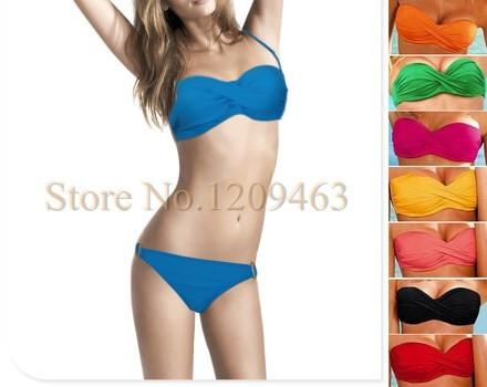 2015 Hot Women's Elegant Push Up Padded Cup Contrast Swimwear Fashion Ladies Swimsuit Ladies' Sexy Bikini Set 8 colors F001(China (Mainland))