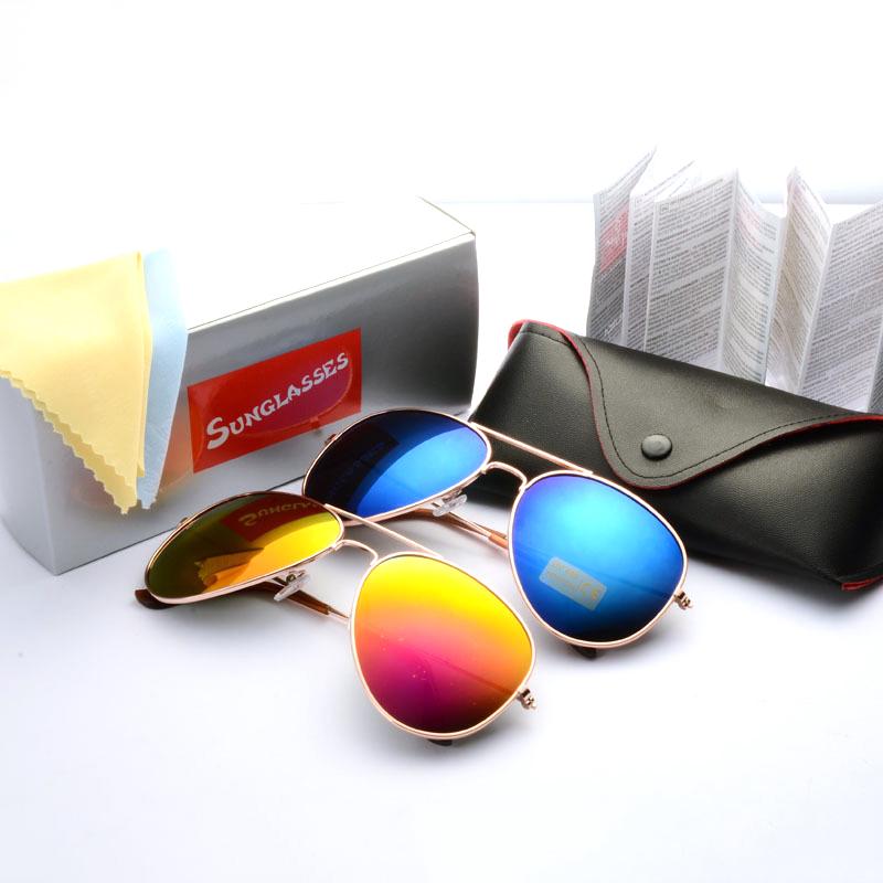 HOT Fashion Mirrored Aviator Sunglasses Brand Designer Sun Glasses with original box for Men Women gafas de sol oculos masculino(China (Mainland))