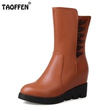 Buy Women Round Toe Half Short Boots Woman Fashion Height Increasing Martin Boot Ladies Buckle Heel Footwear Shoes Size 34-39 for $29.98 in AliExpress store