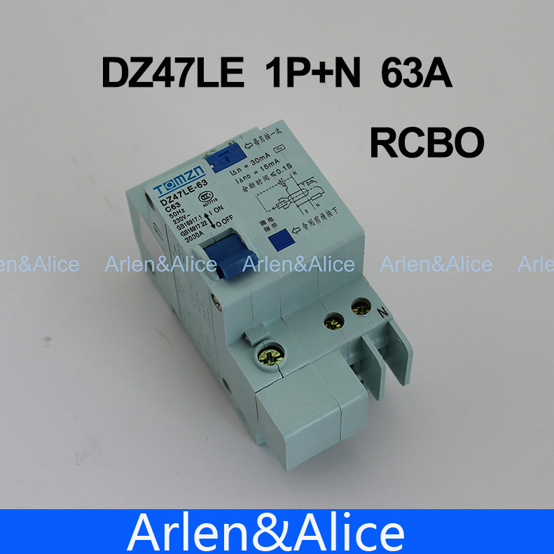 DZ47LE 1P+N 63A C type 230V~ 50HZ/60HZ Residual current Circuit breaker with over current protection RCBO<br><br>Aliexpress