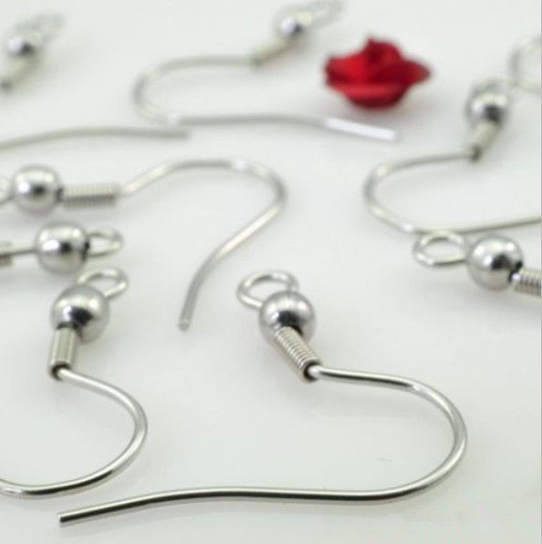 21*3mm 316L Stainless Steel Ear Wires Hooks ~With Bead + Coil ~ Earring Jewelry Finding Accessories(China (Mainland))