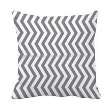 grey and white stripe printed throw pillows case
