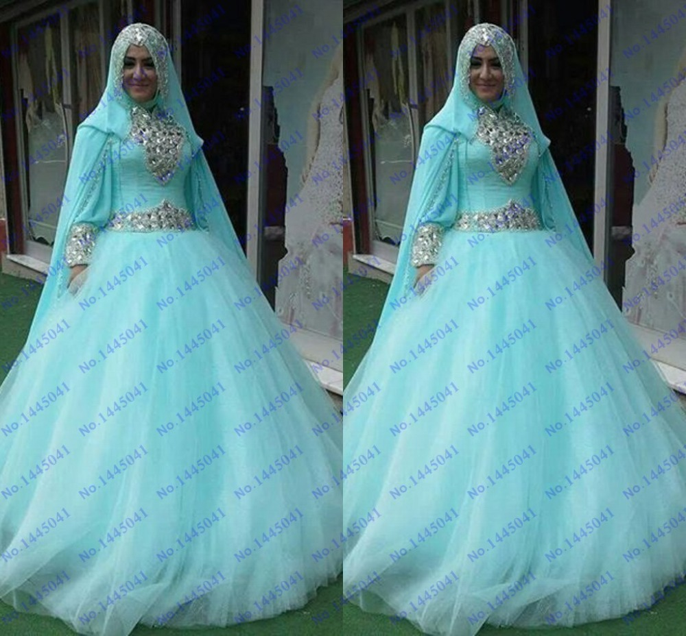 Blue Wedding Dress With Sleeves Of 2015 Vestido De Noiva New Arrival Sky Blue Long Sleeve