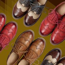 2016 Cuero Genuino Zapatos de Mujer Brogues Oxfords Planas de los Talones de Punta Redonda Hecha A Mano de Las Mujeres Zapatos Casuales de piel de Oveja Más Tamaño(China (Mainland))