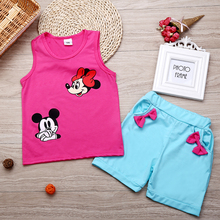 New 2017 Infant clothes toddler children summer baby girls clothing sets cartoon 2pcs Minnie mourse clothes sets kids summer set(China (Mainland))