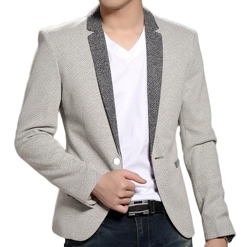 Spring Fashion Single Button Leisure Men Blazers Splicing Hit Color Men Suit Jacket 2015 New Arrival Top Design Slim Men Blazers(China (Mainland))