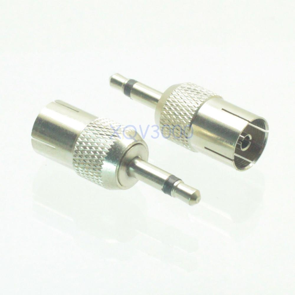 1pce Adapter converter IEC PAL DVB-T TV female jack to 3.5mm mono male plug pin(China (Mainland))