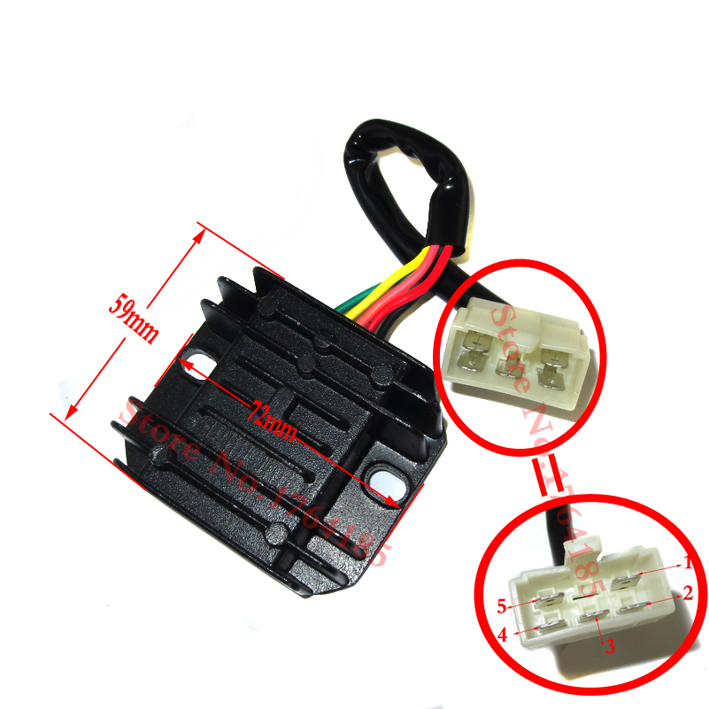 gy6 50 150cc scooter voltage regulator rectifier 5 wires moped go kart atv voltage