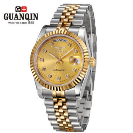 Original brand quality goods GUANQIN men automatic mechanical watch luminous stainless steel luxury business fashion watches(China (Mainland))