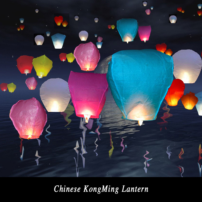 Diy 10Pcs Chinese Sky Paper Lantern Lamps Wedding Decoration Sky Fly Wishing lanterns For Outdoor Balloon UFO Assorted Color(China (Mainland))