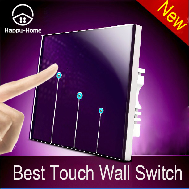Purple Tempered Glass Touch Switch,Touch Light Switch 3 Gang 1 Way Switch, Single Touch Control Wall Switch,Free Shipping