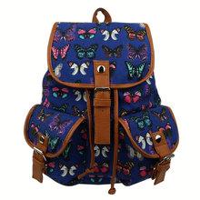 Butterfly printed School Youth Trend schoolbag new ladies female man shoulder bag Canvas backpack Escolar bolsas mochila W1(China (Mainland))