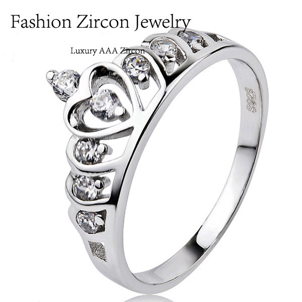 925 Sterling Silver Wedding Rings, Queen Crown Ring,Genuine SWA Elements Crystal 925 Silver Brand Engagement Ring FR11(China (Mainland))