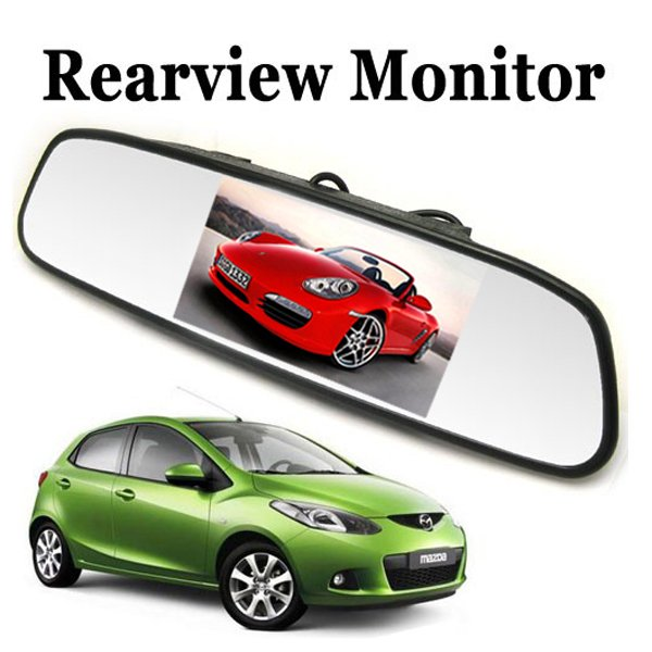 [Sale] Univeral 4.3 Inch Color TFT LCD Display Screen Car Parking Rear View Reverse Mirror Monitor for Camera(China (Mainland))