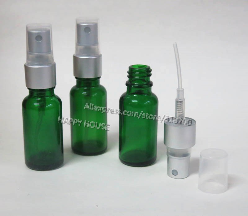Free shipping -  360  x 20ml Green Glass Essential Oil Bottle With Aluminum Sprayer, 20cc Empty Glass Perfume Bottle