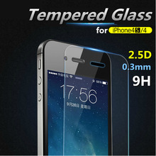 for iPhone 4 4S Ultra Thin 0.3mm Transparency HD Tempered Glass Film Screen Protector Explosion-proof Anti-burst 2.5D wholesale