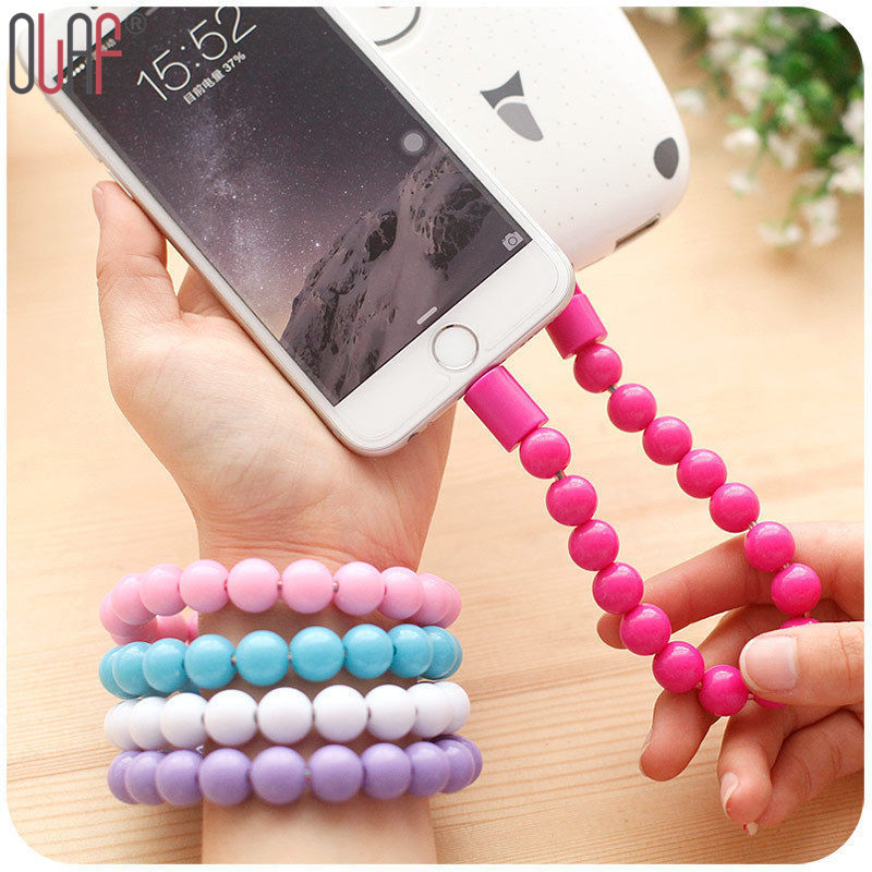 Android Data Charging Sync USB For Samsung Galaxy Note For iPhone 5 5S 6 Buddha Beads Bracelet Shaped Portable Charger Cable(China (Mainland))