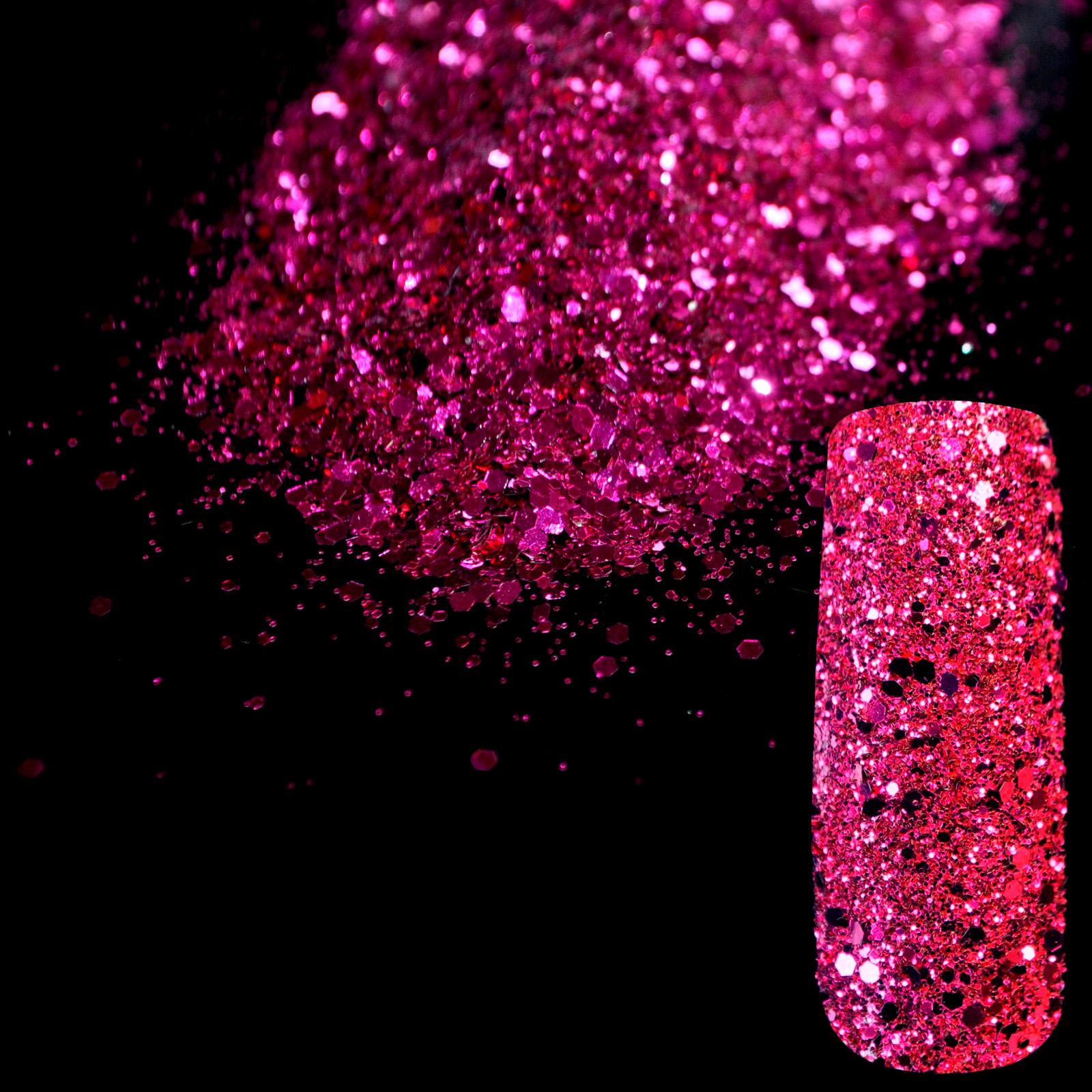 Bright Purple Nail Art Design DIY Glitter Deffierent Size Manicure 3D Powder Pentagon Sequins Nail Supplies Decoration 268