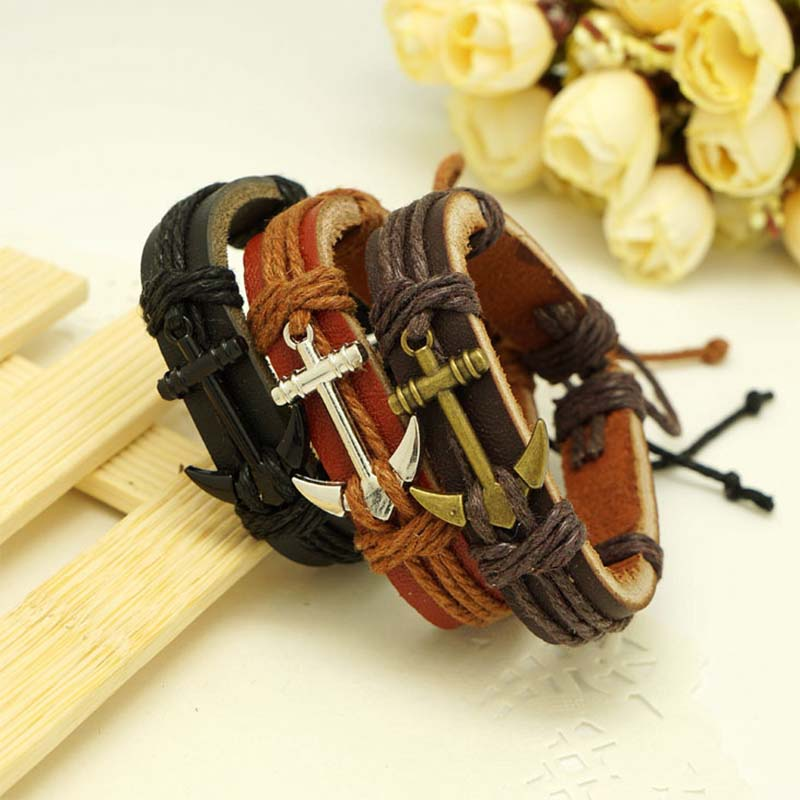 Popular Rope Chain Bracelet For Women Vintage Anchor Men's Bracelet Brand Accessories Newest Alloy Charm Bracelets For Gift(China (Mainland))