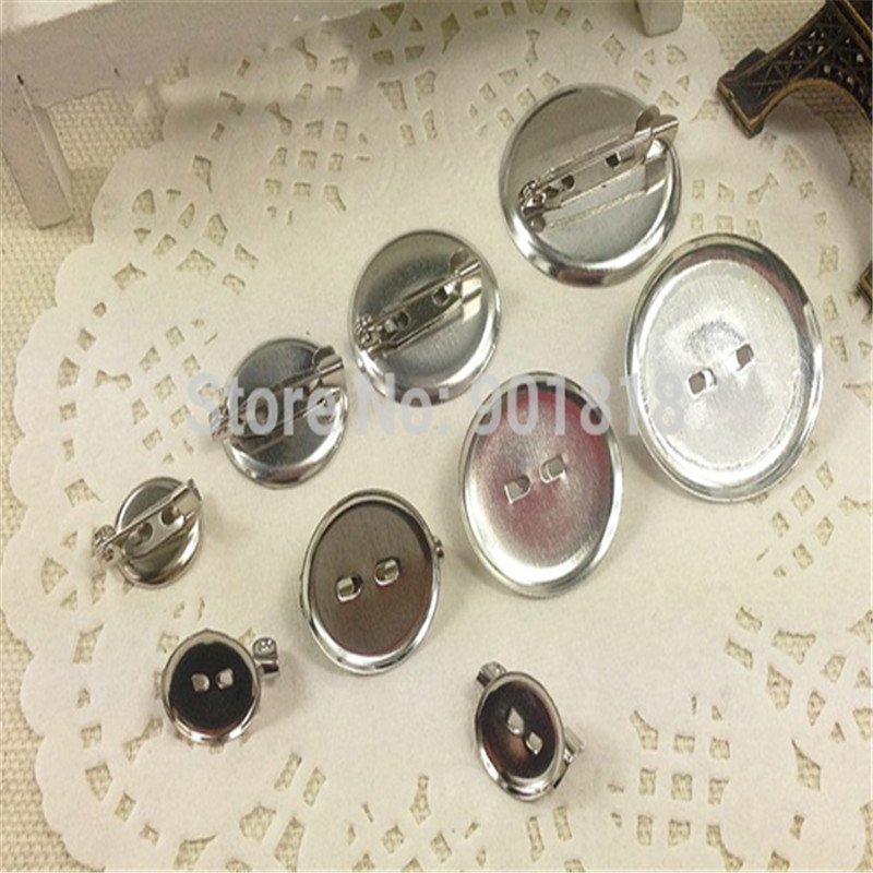 50pcs/lot Multi Size Brooch Blank Tray Bezel Fit Cabochon Round Alloy brooch Flat Base Cup DIY Jewerly Findings F1849<br><br>Aliexpress