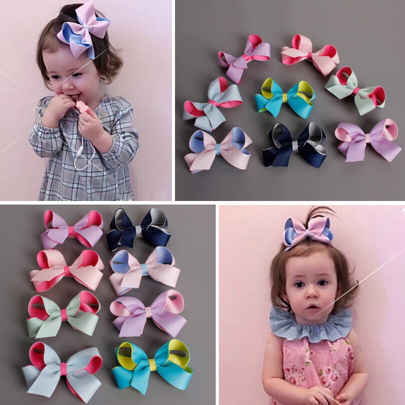 2016 Hot New Fashion Korean Double Color Bowknot Hairpins Hair Clips for Baby Girls Kids Barrettes Hair Accessories(China (Mainland))