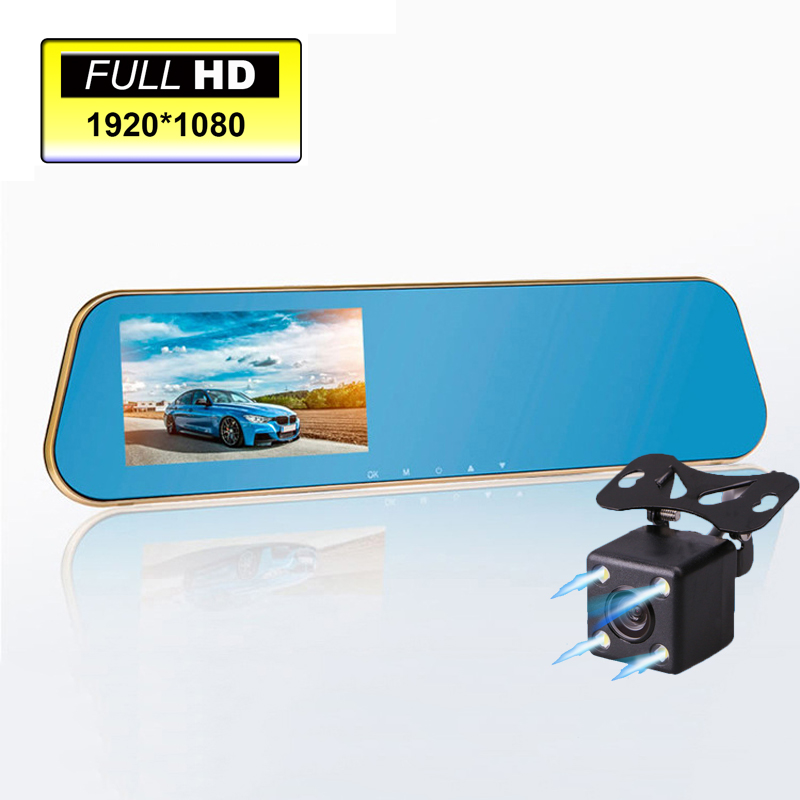 Novatek 96650 Digital Video Recorder Auto Blue Rear-view Mirror Car Dvr Dual Lens Camera Rearview Mirror Vehicle Registrar(China (Mainland))
