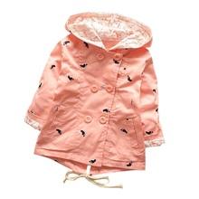 2016 otoño nueva llegada con capucha escudo Girls 100% algodón de la chaqueta para niñas de 1-4 años Manteau Fille cazadora KF101(China (Mainland))