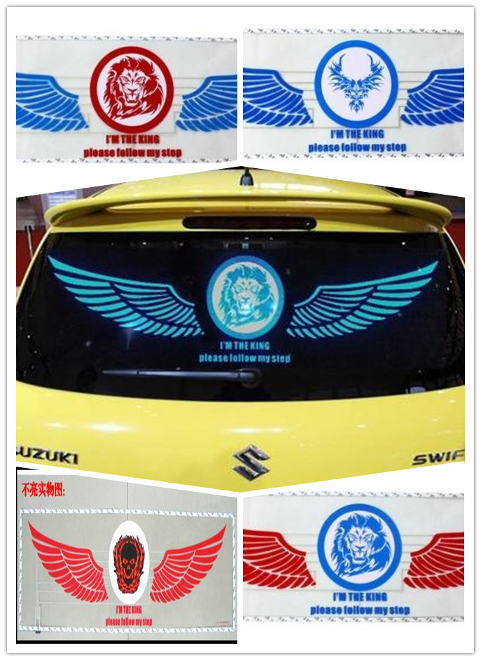 Free shipping 90*25 Wings of angel Music Rhythm LED Sheet Lamp Flash car Sticker Sound Music Activated Equalizer car Stickers(China (Mainland))