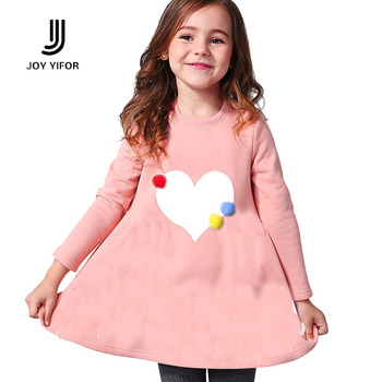 2016 2-8age girl dress girls long sleeves autumn fall winter princess dress O-neck red navy girl clothes children heart clothing
