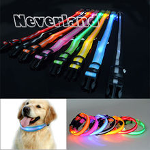 8 Color S M L Size Glow LED Dog Pet Cat Flashing Light Up Nylon Collar Night Safety Collars Supplies Products Freeshipping(China (Mainland))