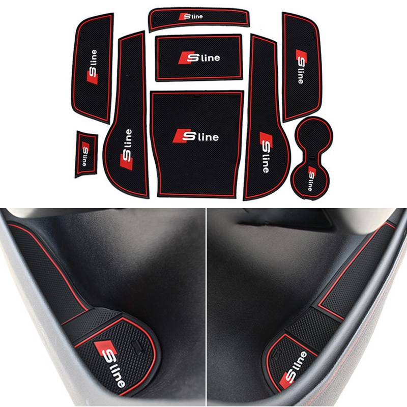 9 Pcs/Set Car Styling Gate Slot Pad Interior Door Groove Mat Anti-Slip Cushion For Audi A3 8V Sedan Sportback 2014 2015 LHD(China (Mainland))