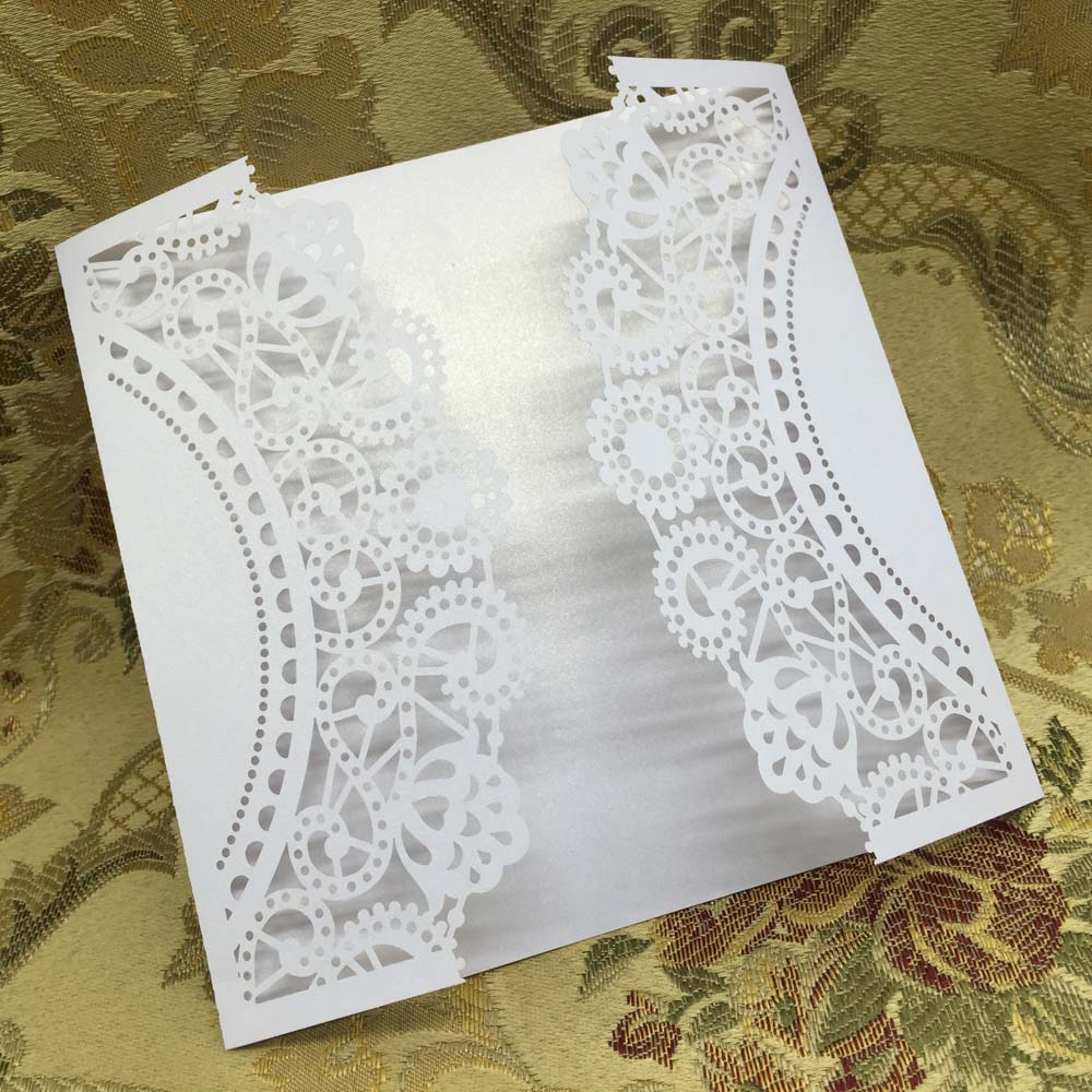 20 pcs White Wedding Celebration Birthday Party Invitation Card Delicate Laser Cut Carved Flowers(China (Mainland))