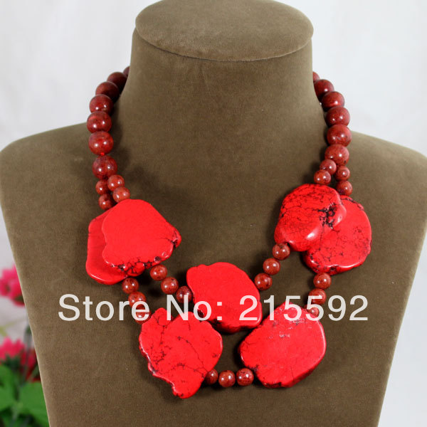 Beautiful Red Irregular Turquoise Necklace Red Coral Beads Necklace Wedding&Anniversary Jewelry Wholesale Free Shipping AJS113(China (Mainland))