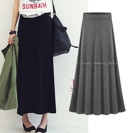 Brilliant Skirt Plus Size Midi Long Skirt Black Purple Fashion Skirts Womens
