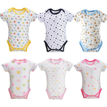 4PCS/LOT Baby Bodysuit Infant Jumpsuit Overall Short Sleeve Body Suit Baby Clothing Set Summer Cotton(China (Mainland))