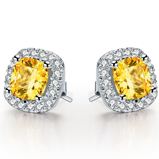 BONZER wedding engagement earrings jewelry 2CT/Pieces Exquisite Cushion Yellow Synthetic diamond earring stud for women(China (Mainland))