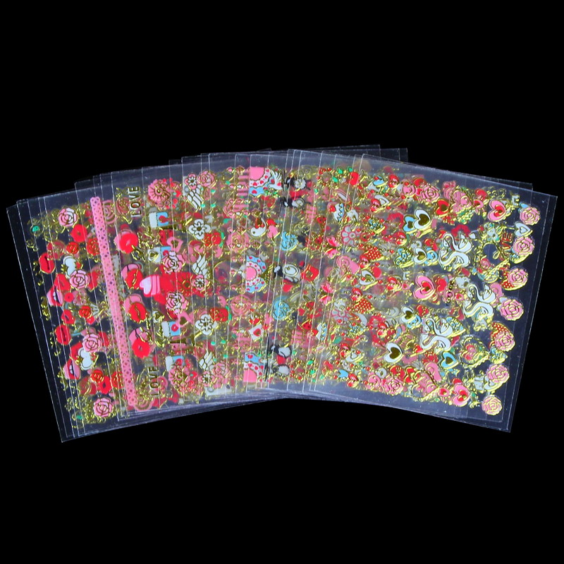 24 Sheets/Lot Cartoon Lips Different Flower Design 3D Nail Art Sticker Women Make Up Tools Jewelry Accessories WY143(China (Mainland))