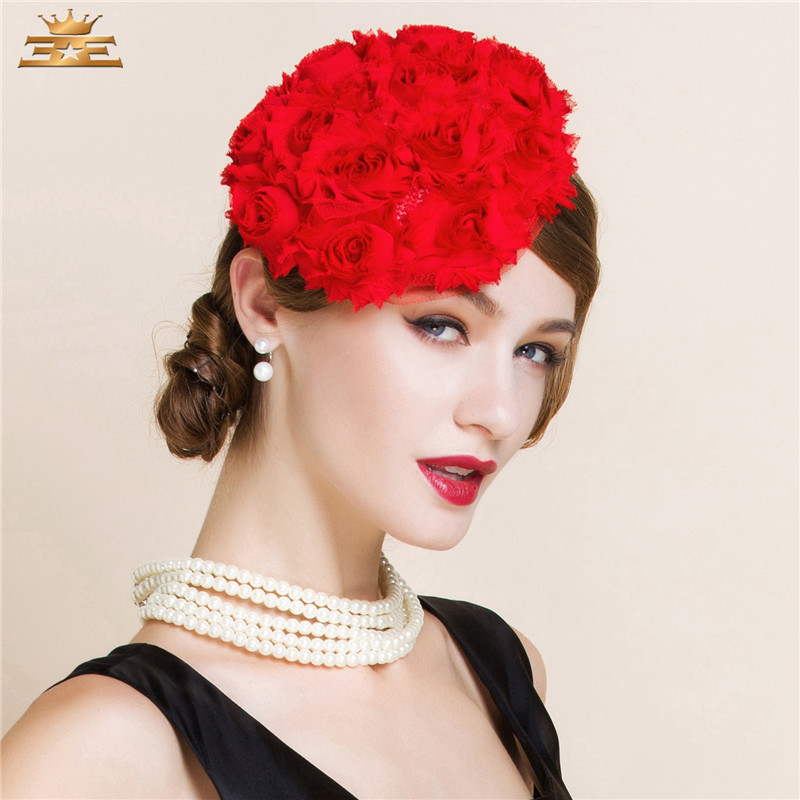 Dress Rose Pillbox Hats Church hats for Races Wedding Party Lady Bridal Handmade Gift Fascinator 3 color red black beige(China (Mainland))