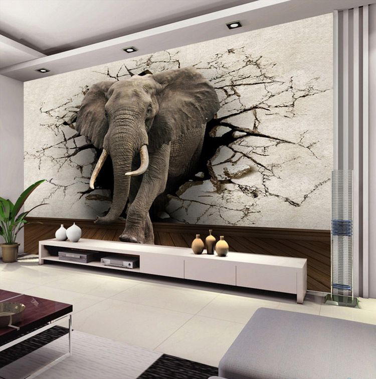 Elephant Decor Ideas: Custom 3D Elephant Wall Mural Personalized Silk Photo