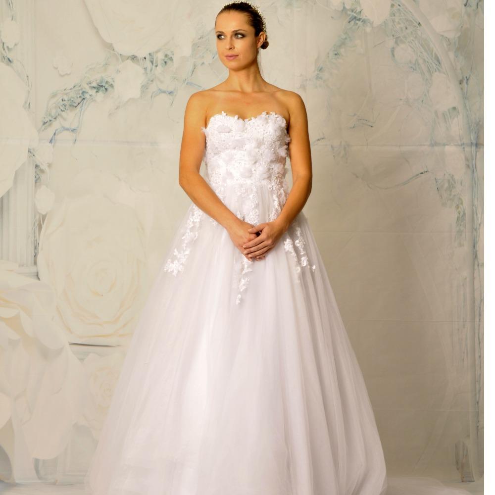 Мода Милая С Плеча Аппликация Цветы Рукавов Длиной До Пола Длина Свадебные Платья